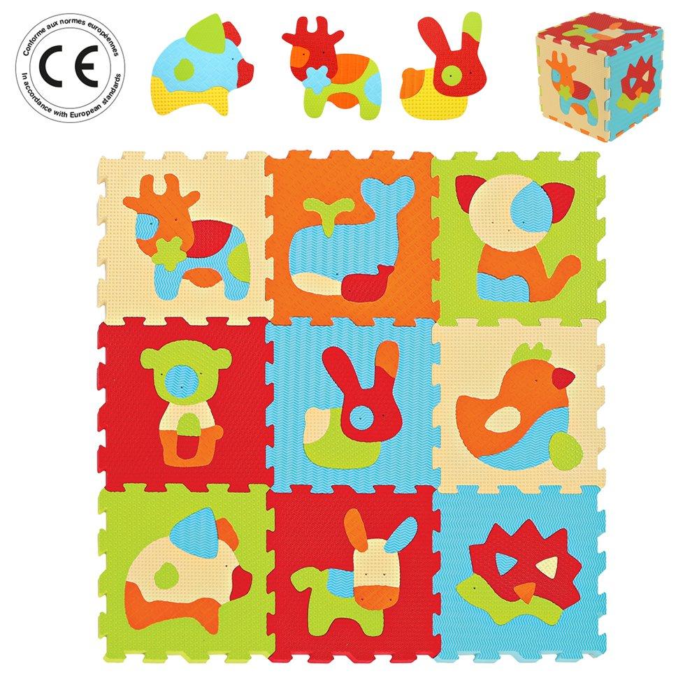 LUDI – Tapis de sol épais pour l'éveil de bébé – 10005 - puzzle géant aux motifs Animaux – dès 10 mois – lot de 9 dalles en mousse multicolores et 51 éléments pour tapis de jeu. product image