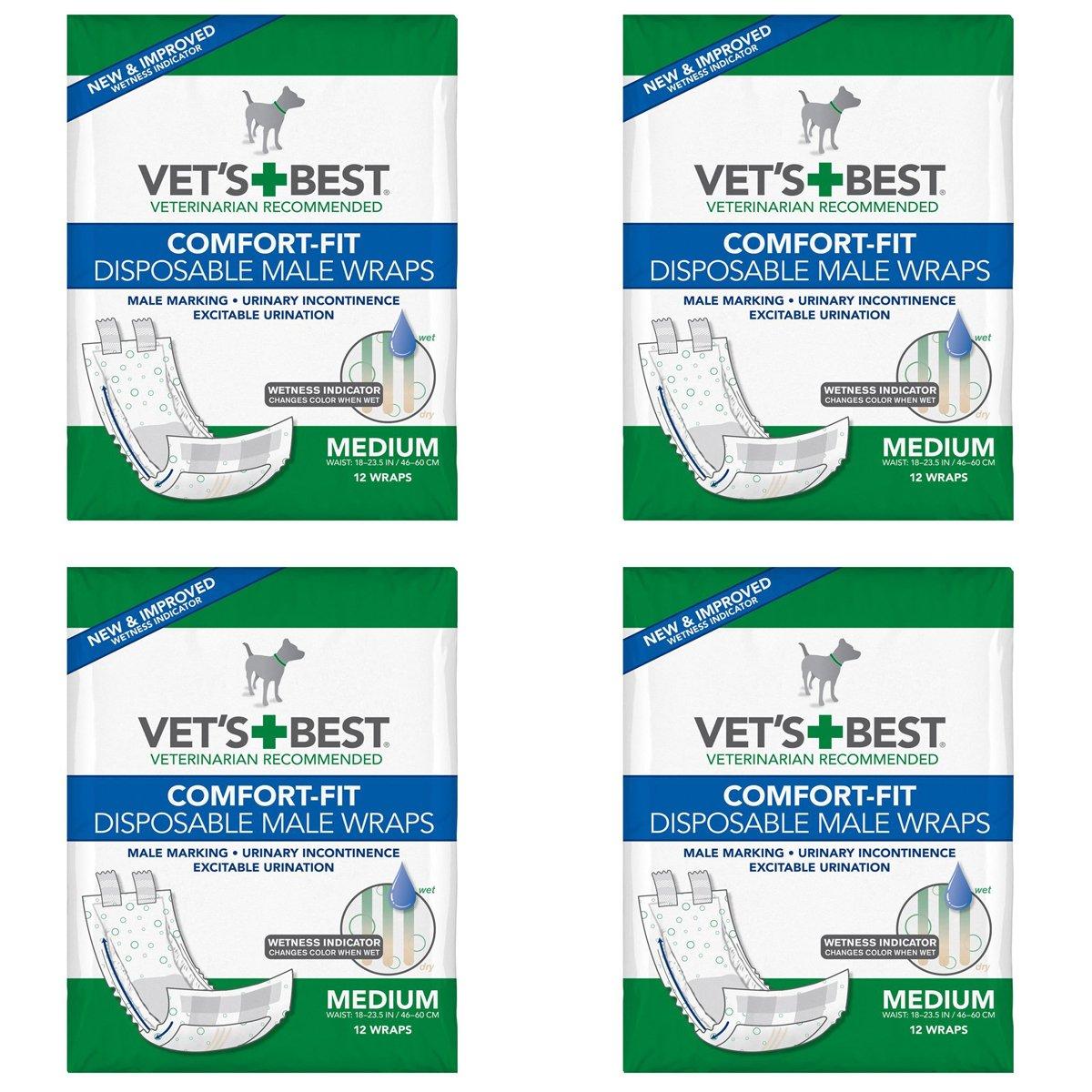Vet's Best Comfort-fit Disposable Male Wrap, Medium 48 Wraps (12 x 4 Count) by Vet's Best
