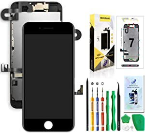 Compatible with iPhone 7 Screen Replacement Black 4.7inch,HKHUIBANG LCD Display 3D Touch Screen Digitizer Full Frame Assembly with OEM Front Camera Proximity Sensor Earpiece Speaker Repair Tool