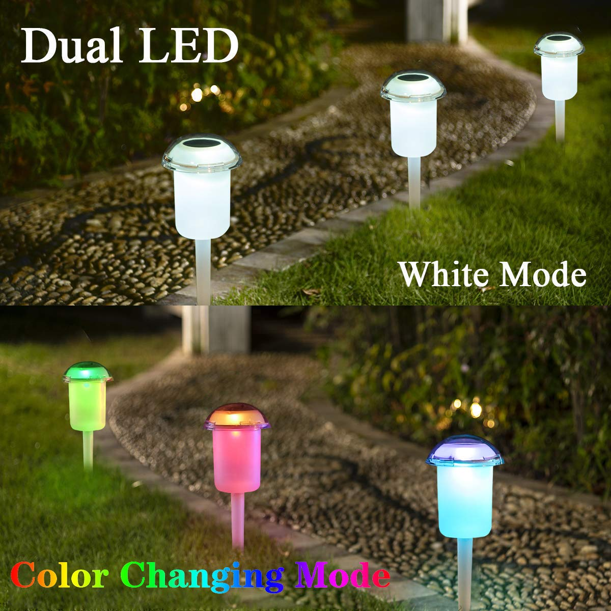 Obell Solar Lights Outdoor Dual Led Color Changing Solar Garden Lights  Waterproof Landscape Lighting for Patio Yard Lawn Walkway Driveway  (style4-4pack)