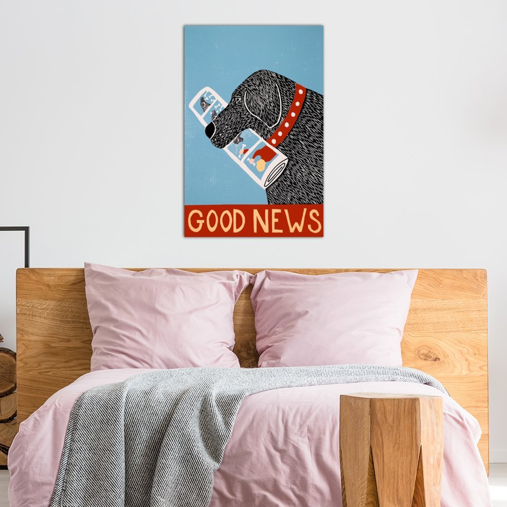 iCanvasART 3 Piece Good News Dog Black Canvas Print by Stephen Huneck 60 x 40//1.5 Deep