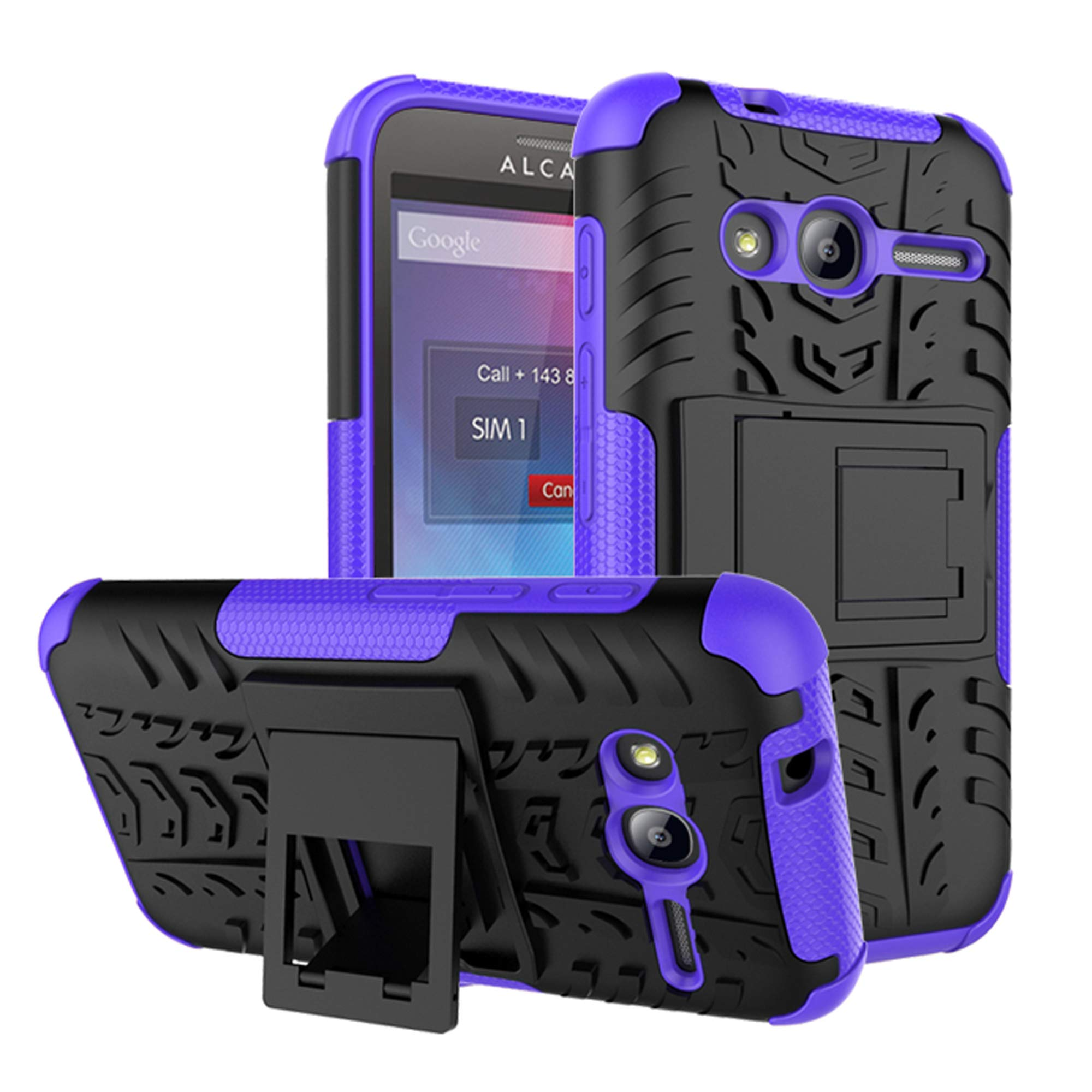 Alcatel U3 3G 4049X Purple Dual Layer Hybrid Tough Rugged Armor Case With Built-in Kickstand & Detachable 2 in 1 Shockproof Phone Case Cover + Screen Protector For Alcatel U3 3G 4049X