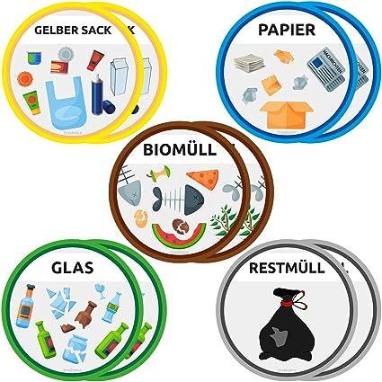 Trashnice 10er Set Aufkleber Mülltrennung Aufkleber Mülltonne Abfalleimer Set Abfall Abfalleimer Aufkleber 95 Mm Gelber Sack Biomüll Papier Glas