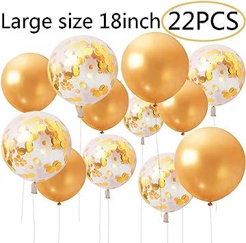 Cebelle 22 Pack Globos confeti oro 18 pulgadas de gran tamaño ...