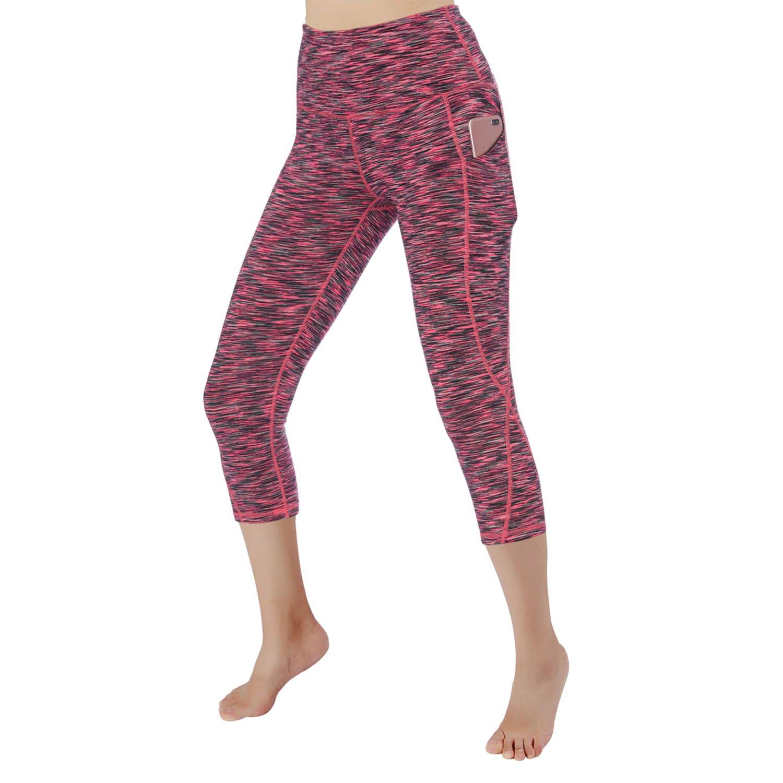 Black Pink RURING Women's High Waist Yoga Pants Tummy Control 4 Way Stretch Running Pants Workout Leggings