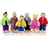 Wooden Dollhouse People, 6 Family Figures Miniature Doll House, Wooden Doll House Family Dress-up Characters Grandpa, Grandma