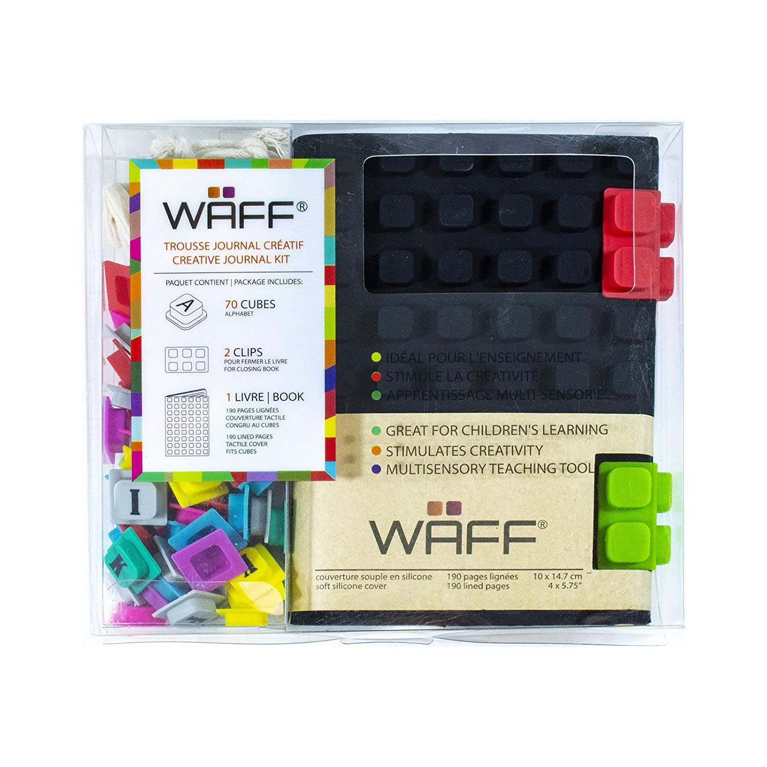 WAFF, Soft Silicone Cube Tiles And Notebook / Journal Combo, Medium, 5.75