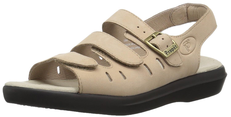 Propét Womens BREEZE WALKER Open Toe Casual Leather Flat Sandals B000BO6478 12 4E US Dusty Taupe Nubuck Dusty Taupe Nubuck 12 4E US