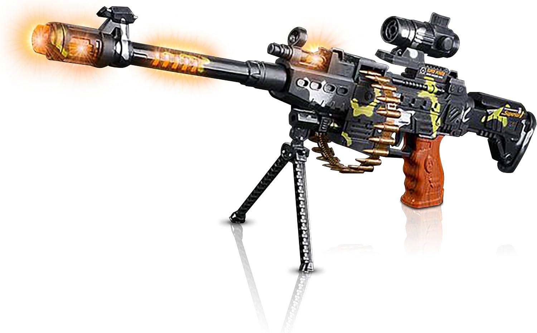 KIDS CHILDEREN LASER GATLING GUN TOY MULTICOLOR LIGHTS SOUND VIBRATION GUN M134