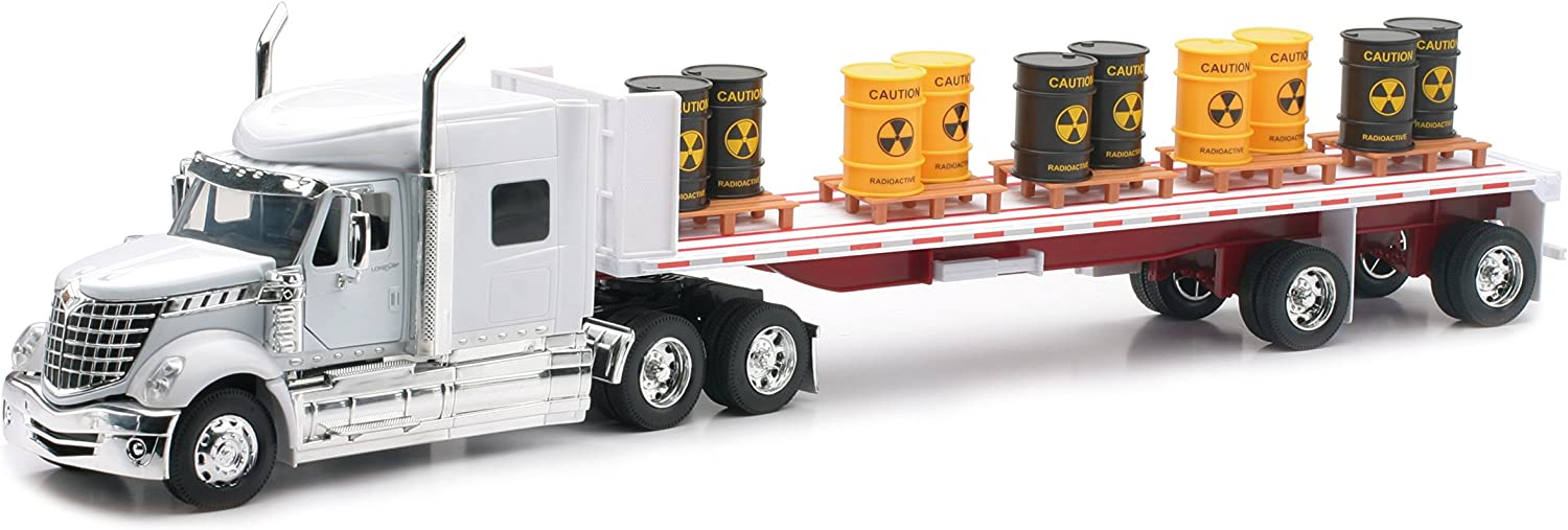 Amazon Com Newray International Lonestar Flatbed With Radioactive Waste Barrels 1 32 Scale Model Toy Truck Toys Games