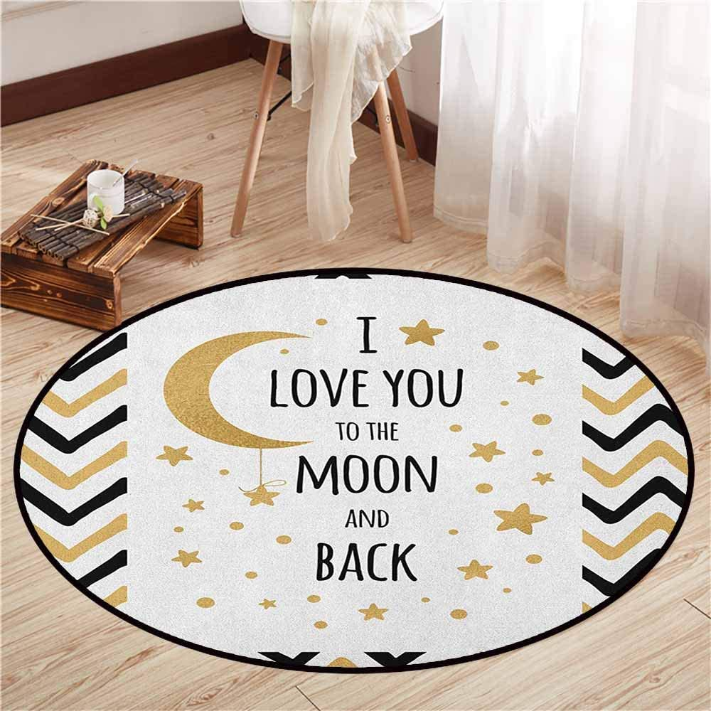 "Indoor/Outdoor Round Rugs,I Love You,Ornamental Valentines Amusement Celebration Hand Drawn Zig Zags Stars,Sofa Coffee Table Mat,4'3"" Black Pale Brown"