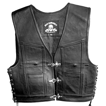 57b7576ee7b1  Bad Company Leather Gregg Club Wear Vest Made From Smooth Leather in Black  for Bikers and Riders  Amazon.co.uk  Car   Motorbike