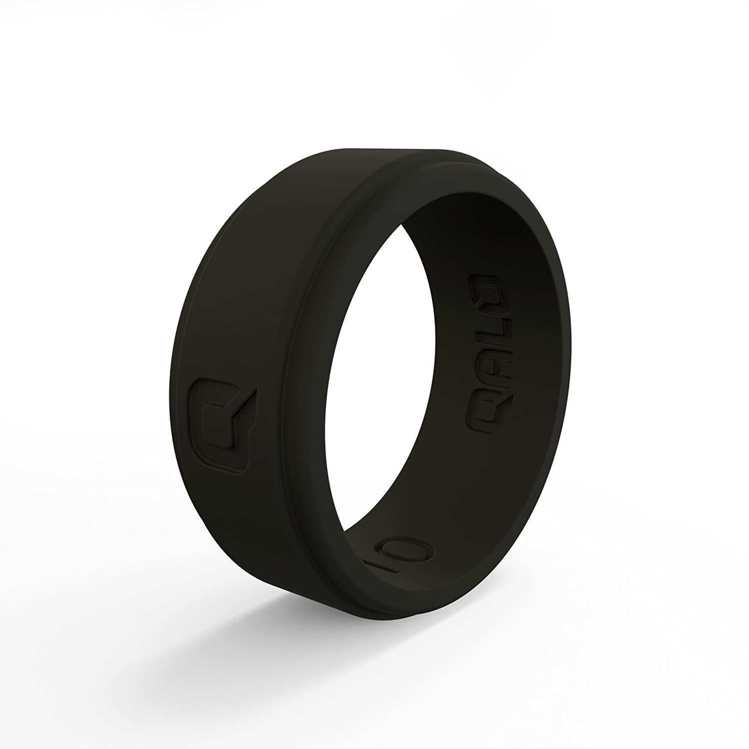 QALO Men's Functional Silicone Ring, Q2X Step Edge, Charcoal Grey, Size 8 Inc. MSC08