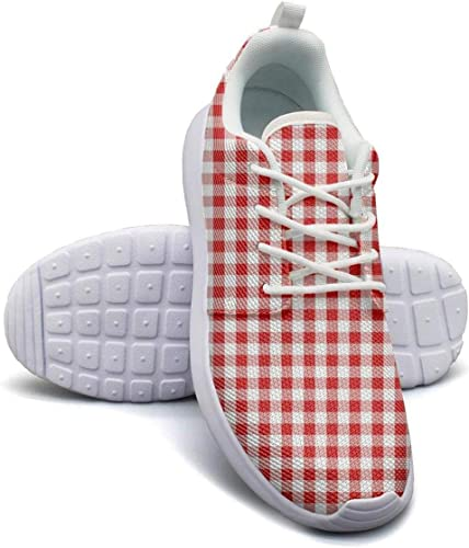 Plaid Printing Vintage Brown Lightweight Running Shoes for Women Sneaker Workout Soft Sole Shoes