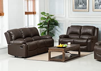 e155fdc47c4da New Marbella Leather Recliner Sofa Set (Brown, 3 + 2): Amazon.co.uk ...