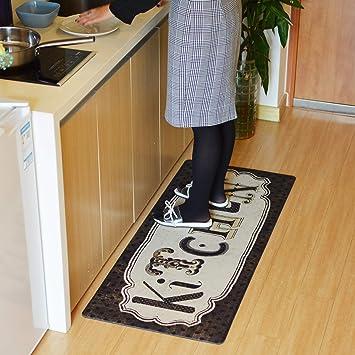 """NonSlip Black White 52/"""" LAUNDRY ROOM FLOOR RUNNER RUG MAT Chalkboard Look Decor"""