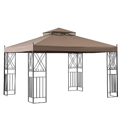 Sunjoy A101012100 Shawn 10 x 12 ft. Steel Gazebo with 2-Tier Canopy, Khaki : Garden & Outdoor [5Bkhe0206854]