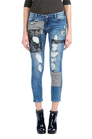 Desigual - Pantalón - para Mujer 5053 Jeans Vaquero: Amazon ...