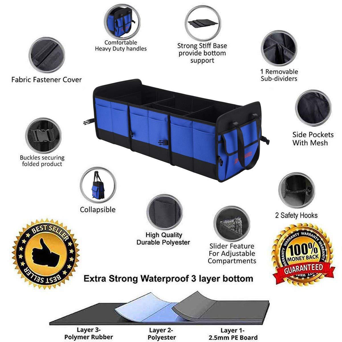 Autoark Multipurpose Car SUV Trunk Organizer with Straps,Durable ...