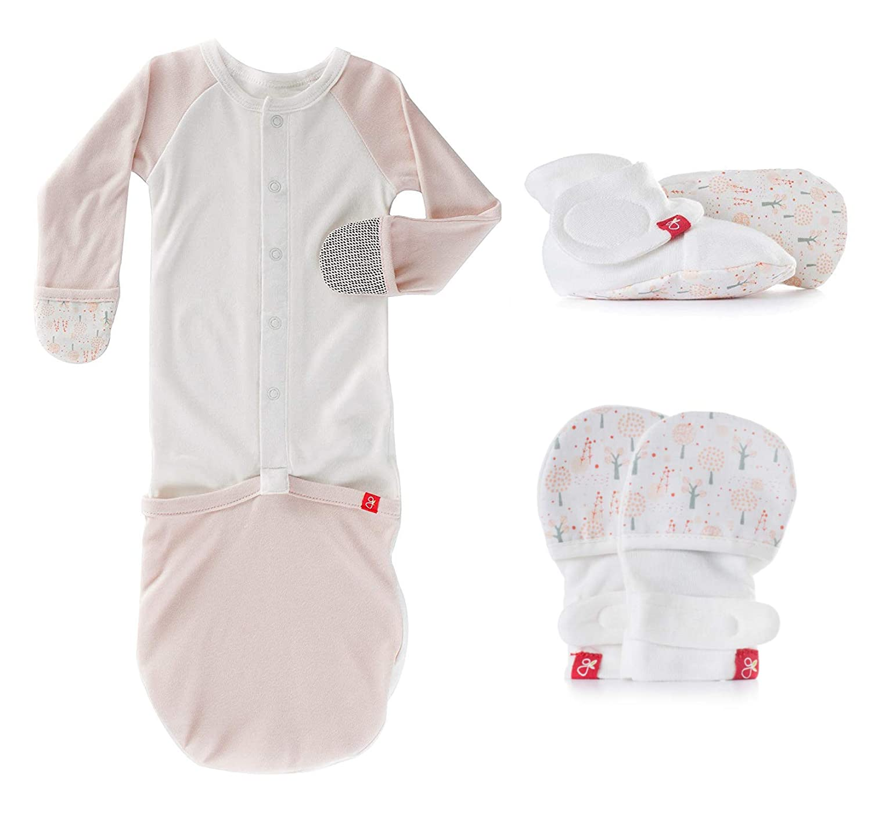 Soft /& Adjustable goumikids Newborn Baby Mittens Drops//Aqua, 0-3 Months Booties /& Sleep Sack Pajamas Bundle Organic