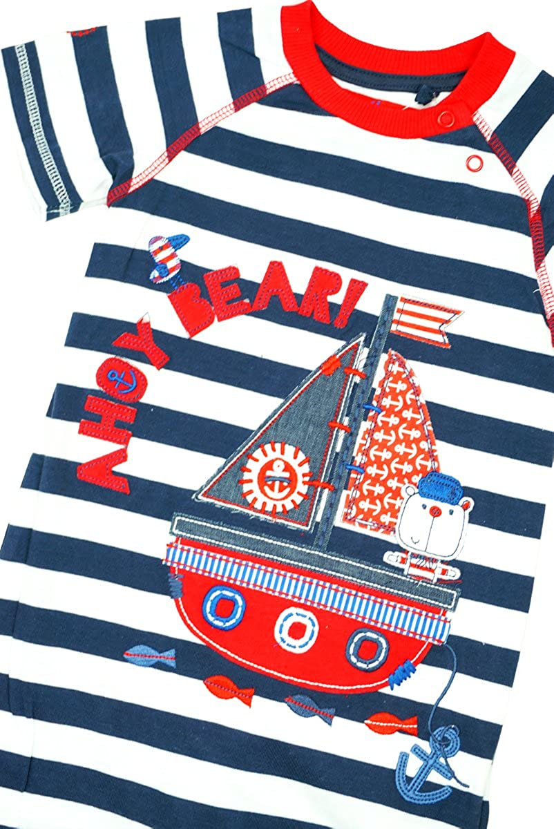 Boys Baby Ahoy Teddy Bear Nautical Stripe Playsuit Romper Sizes from 6 to 24 Months