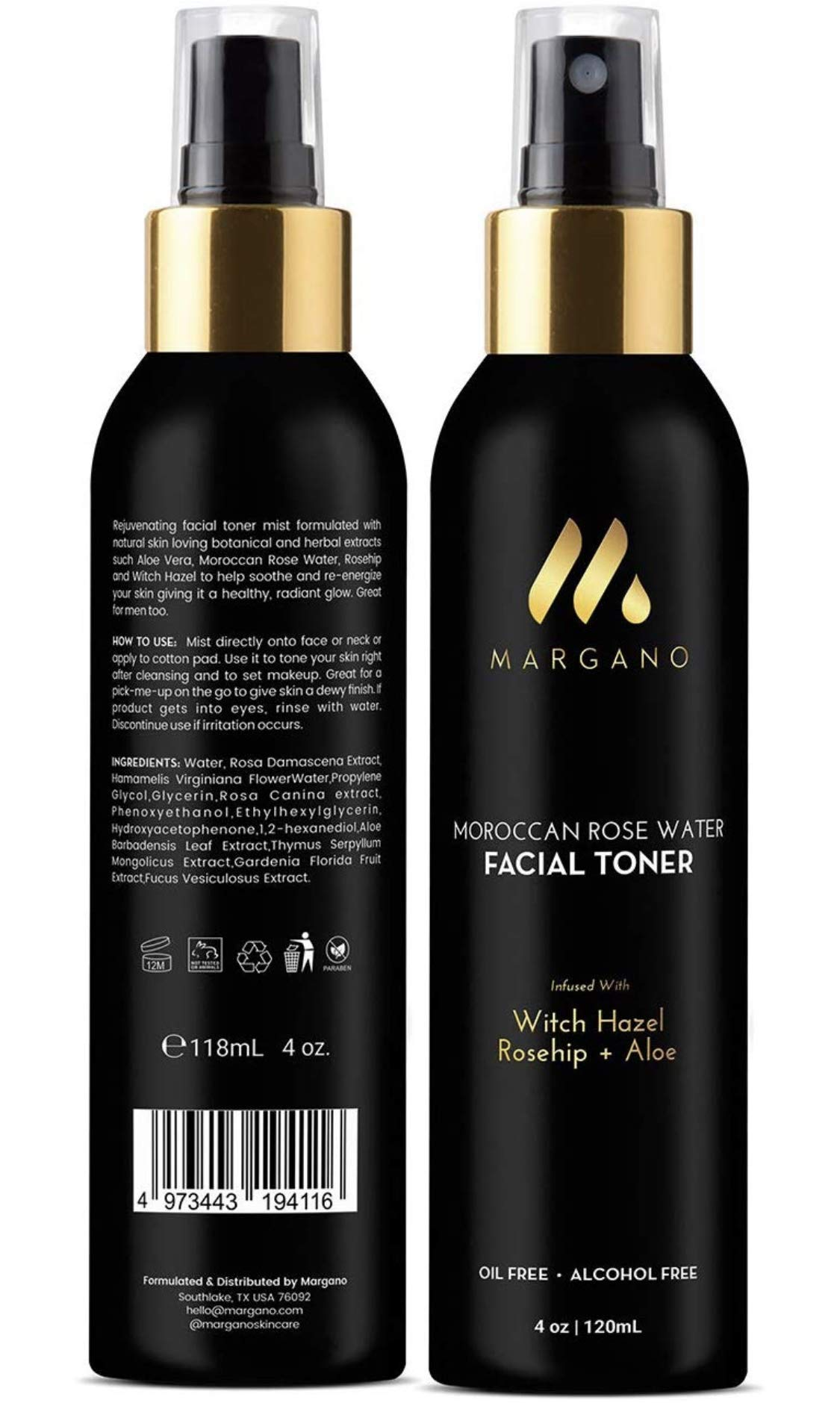 Natural Facial Toner w/Moroccan Rose Water, Witch Hazel, Aloe Vera and Rosehip | Restore pH, Tone, Sooth, Moisturize, Set Makeup| All Skin Types. Alcohol Free. Oil Free, 4oz by MARGANO
