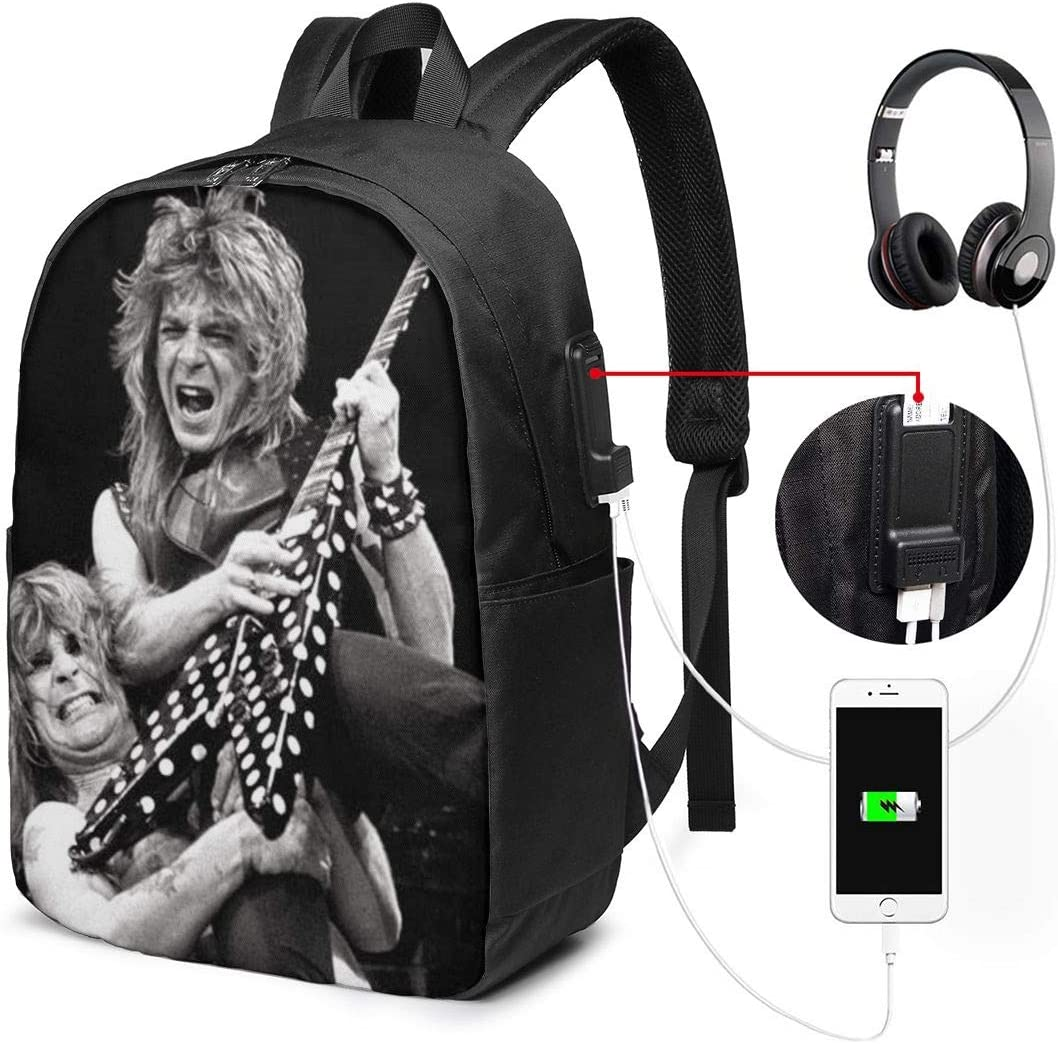 MANTSHIRT Randy T-Shirts Rhoads Incubus Backpack Unisex Simple Travel Laptop/Backpacks with USB Charging Port College College School Computer Bookbag for Women Men
