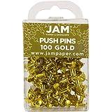 JAM Paper Push Pins - Gold PushPins - 100/Pack