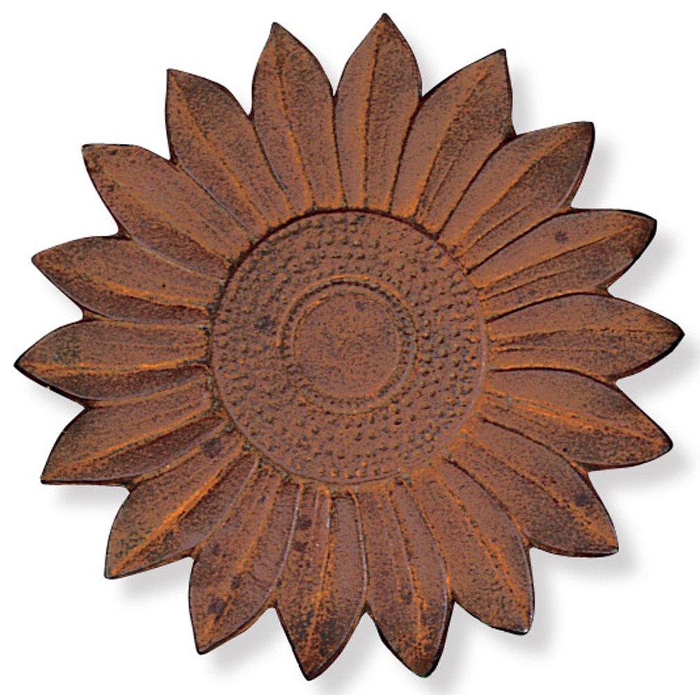 Sunset Vista Designs Cast Iron Sunflower Stepping Stone, 12-Inch Diameter