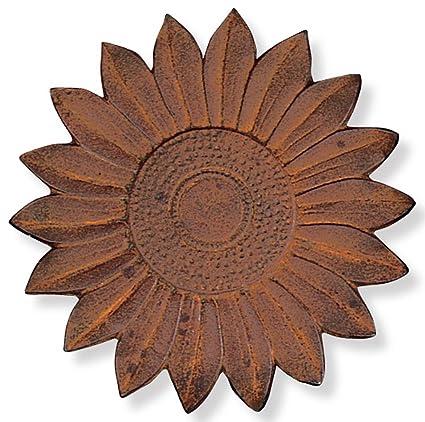 Sunset Vista Designs Cast Iron Sunflower Stepping Stone 12 Inch Diameter