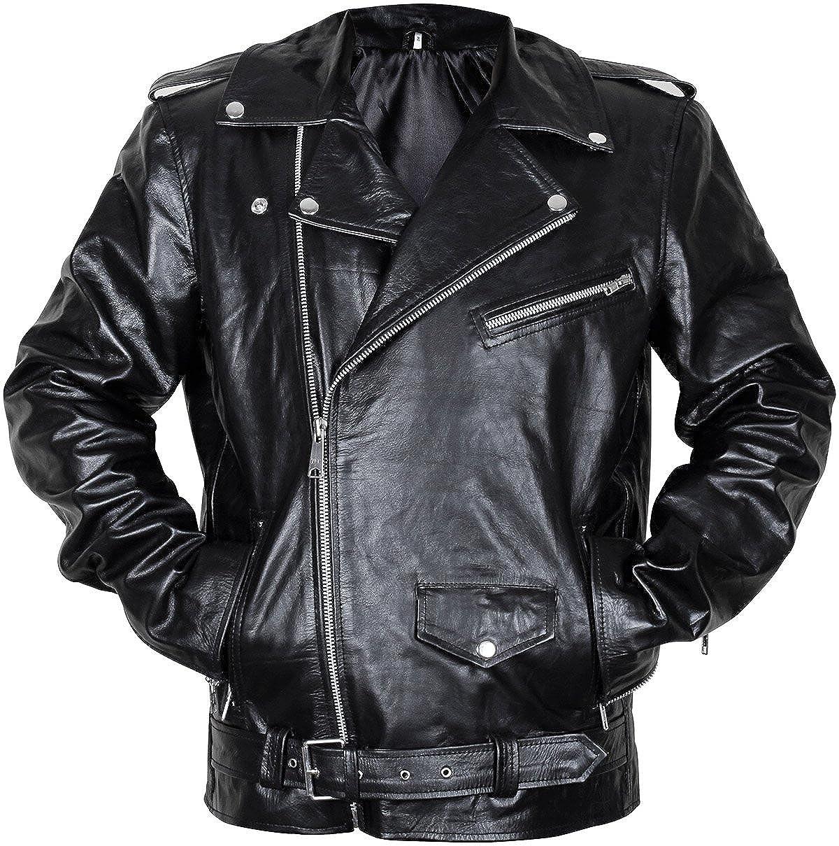 Mens Motorcycle Vintage Brando Biker Real Black Leather Jacket