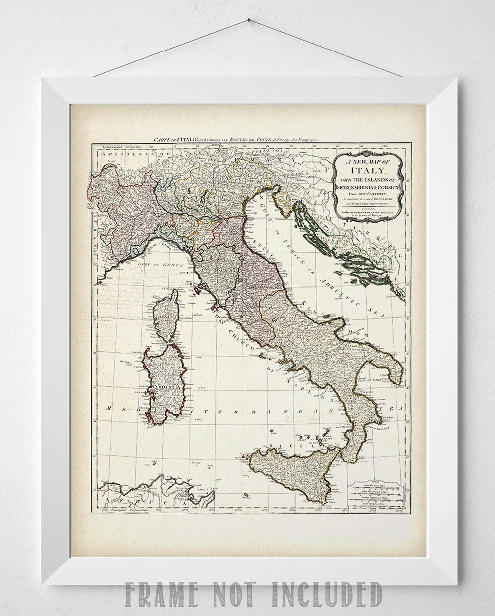 picture about Printable Map of Sicily titled 1794 Italy Map - 11x14 Unframed Artwork Print - Outstanding House Decor Below $15 for Italians