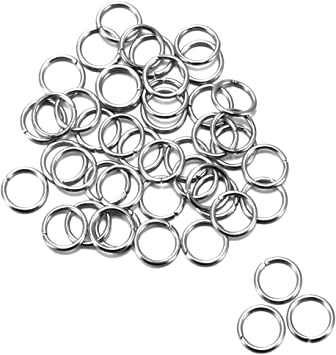 Kissitty 2000pcs 10mm Stainless Steel Open Jump Rings Connectors 1mm Thick Chainmail Making Jewelry Findings