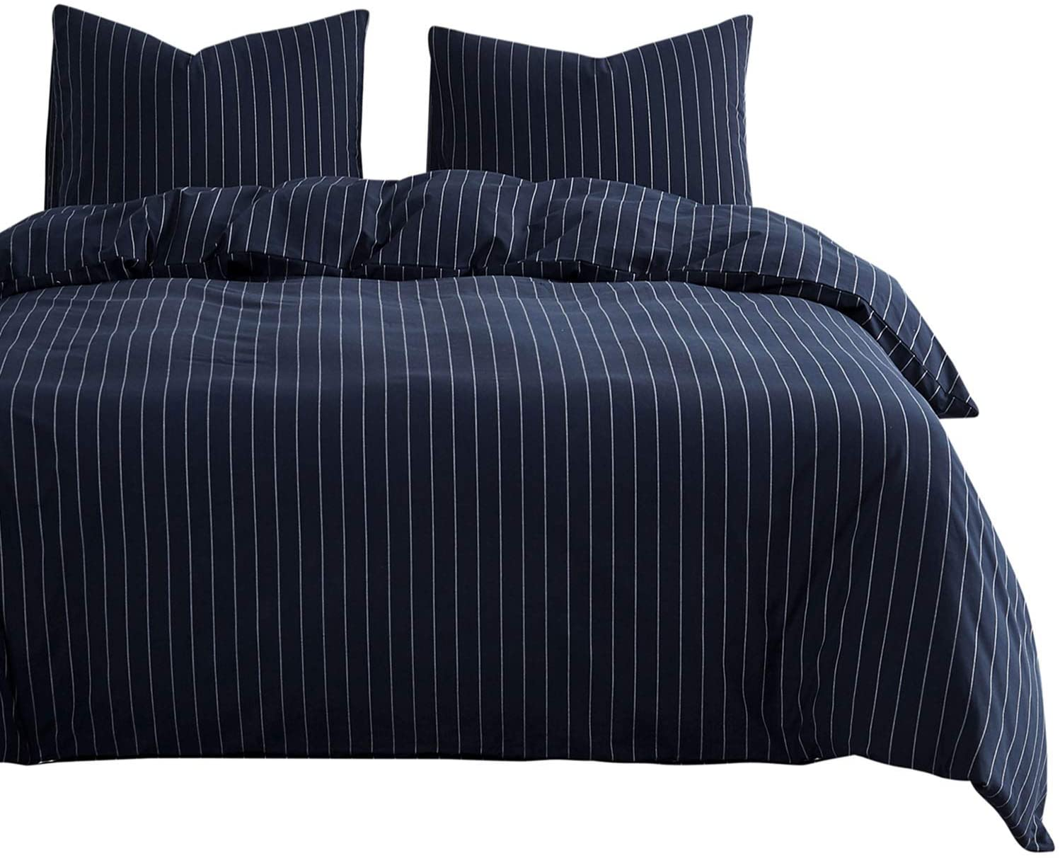 Wake In Cloud - Navy Striped Duvet Cover Set, 100% Cotton Bedding, White Vertical Ticking Stripes Pattern on Navy Blue, Zipper Closure (3pcs, King Size)
