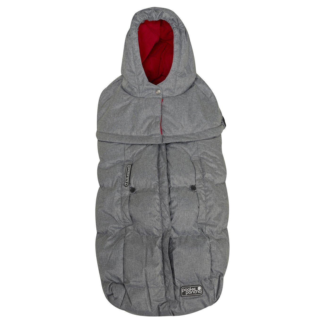 7 A.M. Enfant Pookie Poncho Footmuff-Heather Grey with Red Fleece Lining