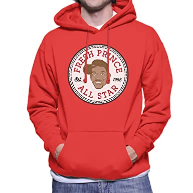 c0ab7e215023 Fresh Prince Will Smith All Star Converse Logo Men s Hooded Sweatshirt   Amazon.co.uk  Clothing