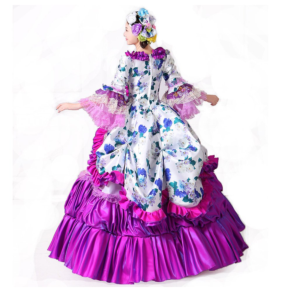c50f2ab111e9 Amazon.com: Purple Floral Printed Rococo Marie Antoinette Dresses Southern  Belle Masquerade Victorian Ball Costumes Theatre Clothing (XL): Clothing