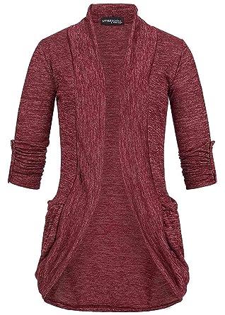 09291cd75b5d5 Styleboom Fashion Damen Turn-Up Cardigan 2 Taschen bordeaux rot ...