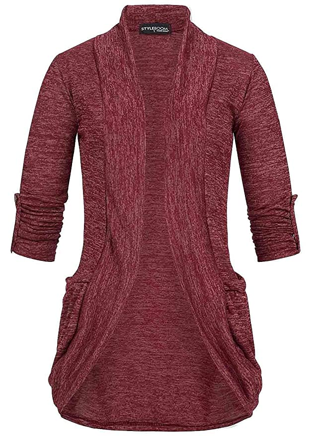 1a6c7bac026d5 Styleboom Fashion Damen Turn-Up Cardigan 2 Taschen bordeaux rot  Amazon.de   Bekleidung