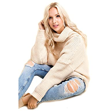 90cc9c22cd8a Image Unavailable. Image not available for. Color  Blushing Heart Cream  Colored Chunky Knit Turtleneck Sweater ...