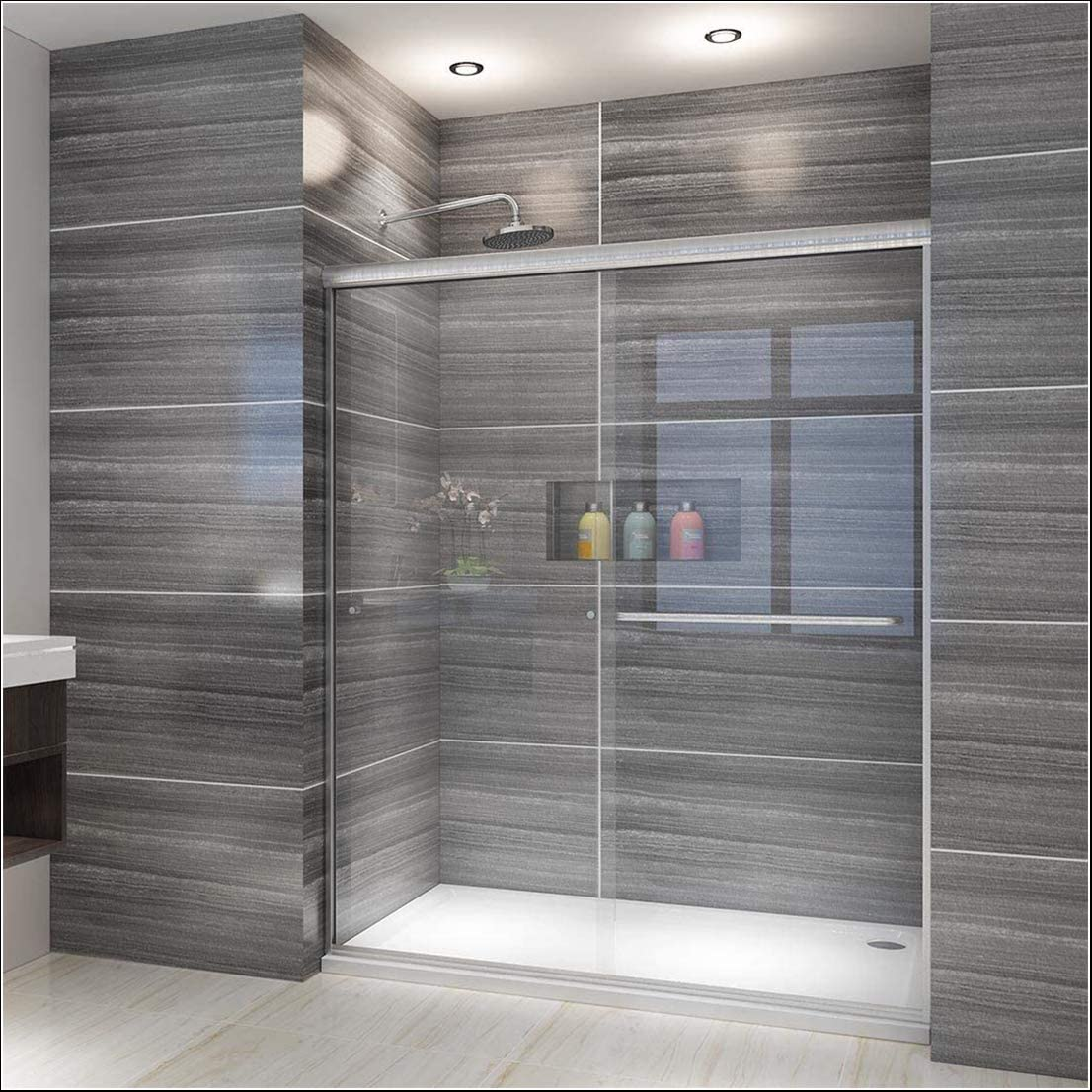 Elegant Showers 58 5 60 W X 72 H Semi Frameless Bypass Sliding Shower Doors 1 4 Clear Glass Brushed Nickel Finish Amazon Com