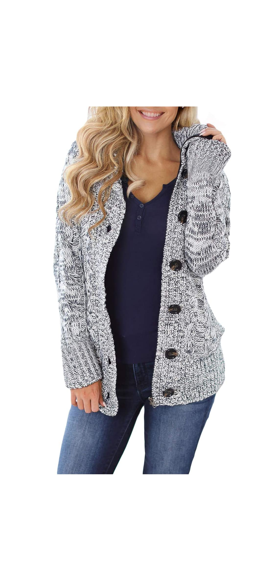 Womens Button Down Cable Knit Cardigans Fleece Hooded