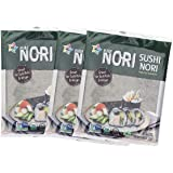 KIMNORI Sushi Nori Seaweed Sheets – 30 Full Size USDA Organic Yaki Roasted Rolls Wraps Snack 100% Natural Laver Gluten Free N