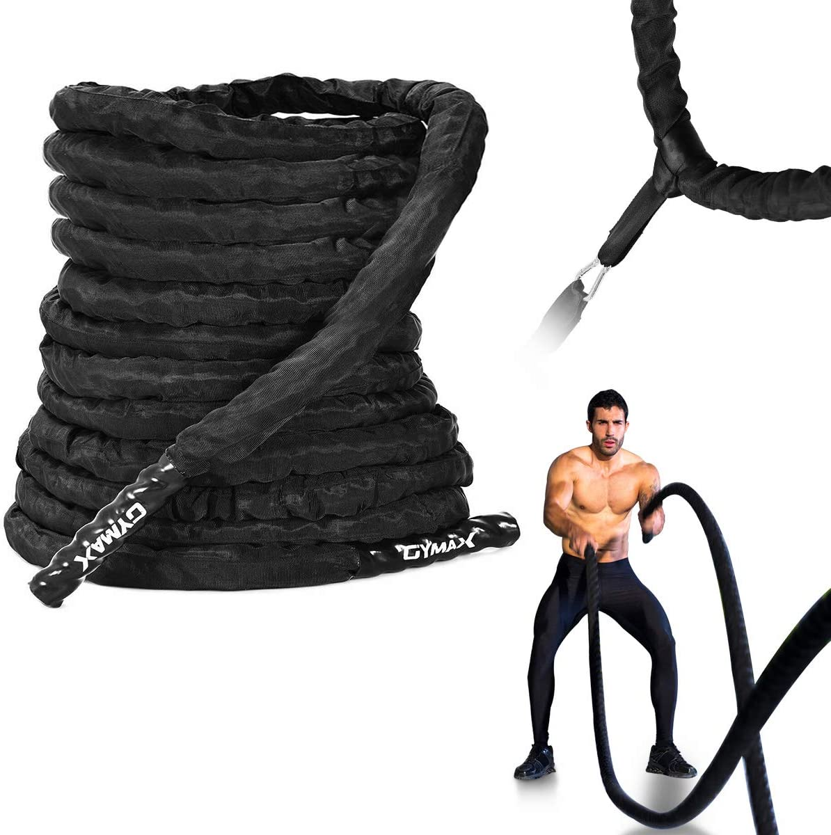 GYMAX Battle Rope with Anchor Strap Kit, 1.5 2 Diameter 30 40 50 ft Length Strength Training Rope with Heat Shrink Handle Protective Sleeve, 100 Poly Dacron Exercise Rope for Home, Gym