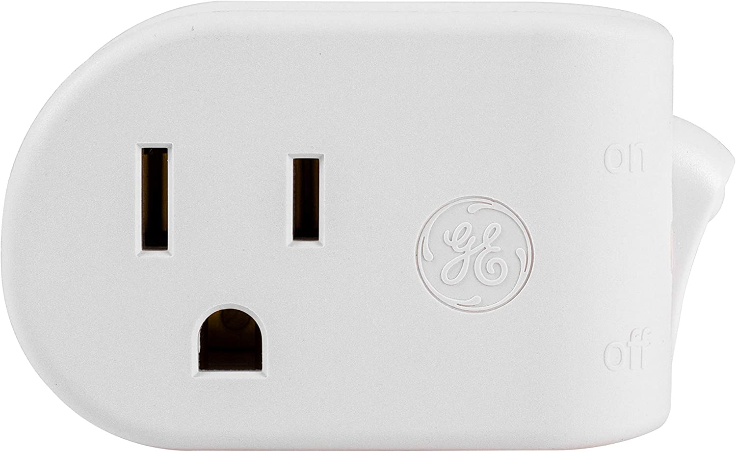 GE Grounded Outlet Power Switch, On Off Outlet Switch, 3 Prong, Plug in Switch, Outlet Adapter, Easy to Install, For Indoor Lights and Small Appliances, Energy Saving, UL Listed, White, 25511