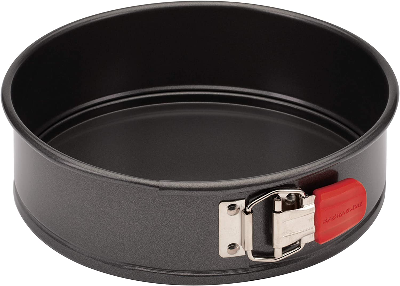 Rachael Ray 47964 Oven Lovin' Nonstick Bakeware Springform Baking Pan With Grips / Nonstick Springform Cake Pan With Grips / Nonstick Cheesecake Pan With Grips, Round - 9 Inch, Gray