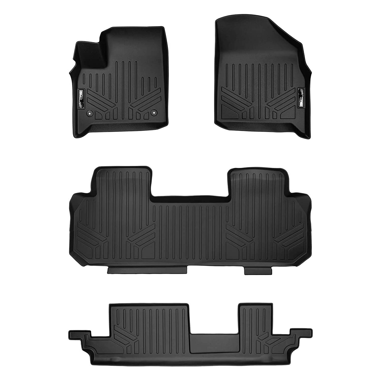 SMARTLINER Floor Mats 3 Row Liner Set Black for 2018-2019 Chevrolet Traverse with 2nd Row Bench Seat