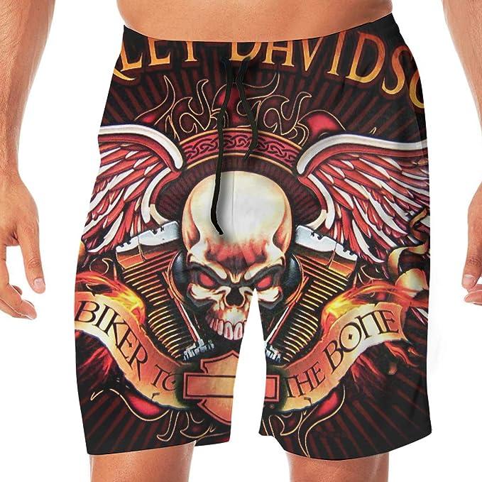 REBELN Mens Harley Davidson Logo Mens Summer Swim Trunks Quick Dry Funny Beach Board Shorts Casual Pants Printing White