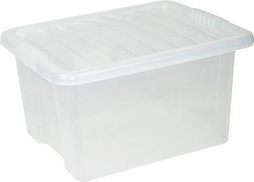 35 litros de plástico transparente caja de almacenaje – Pack de 5 ...