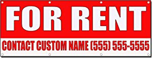 for Rent Custom Name Phone Number Red 3 Ft X 6 Ft/W 6 Grommets